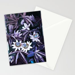 Temple of Flora Midnight Blue Purple Stationery Cards