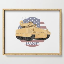 Bradley Fighting Vehicle with American Flag Serving Tray
