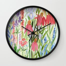 Garden Flowers Watercolor Wall Clock