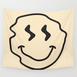 Wonky Smiley Face - Black and Cream Wall Tapestry