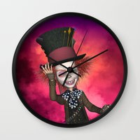mad hatter Wall Clocks featuring Mad Hatter by apgme