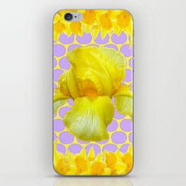 ABSTRACT YELLOW SPRING IRIS GOLDEN DAFFODILS FRAME iPhone Skin