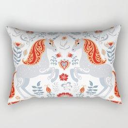 Unicorns, hummingbirds, bunnies, birds, flowers and leaves. Rectangular Pillow