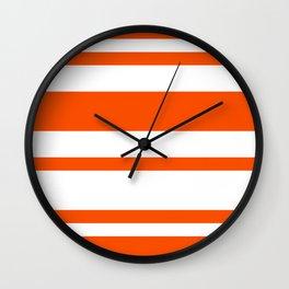 Mixed Horizontal Stripes - White and Dark Orange Wall Clock