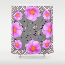 Fuchsia Pink Roses on Grey Color Pattern Floral Art, Shower Curtain