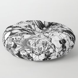 Black And White Tropical Flower Pattern Floor Pillow
