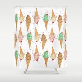 I Scream Pattern Shower Curtain