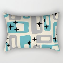 Retro Mid Century Modern Abstract Pattern 223 Blue and Gray Rectangular Pillow