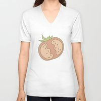 vegetable V-neck T-shirts featuring Vegetable Salad by akaink