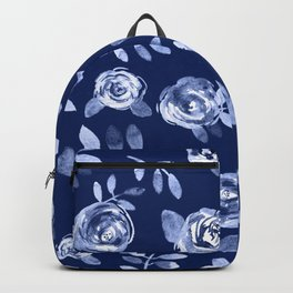Hand painted navy blue white watercolor floral roses pattern Backpack