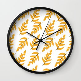 Orange leaves and branches Wall Clock