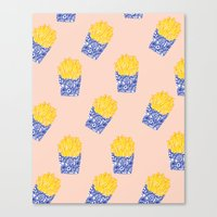 fries Canvas Prints featuring Floral Fries by Bouffants and Broken Hearts