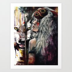 Mononoke San and The Spirit of the Wolf Art Print