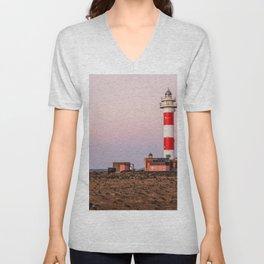 Lighthouse in Fuerteventura at sunset Unisex V-Neck