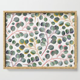 Simple Silver Dollar Eucalyptus Leaves Serving Tray