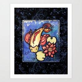 Koi & Lotus II Art Print