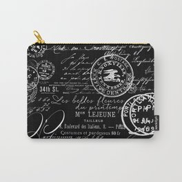 White Vintage Handwriting on Black Carry-All Pouch