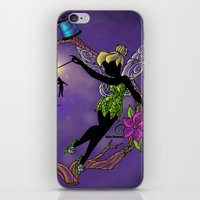 tinker bell iPhone & iPod Skins featuring Sihouette Tinker Bell by Katie Simpson a.k.a. Redhead-K