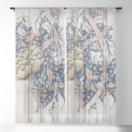 Design for Windrush by William Morris 1883 // Romanticism Blue Red Yellow Color Filled Floral Design Sheer Curtain