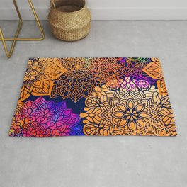 Bohemian 1960's Mandala Pattern of Neon Rainbows Rug