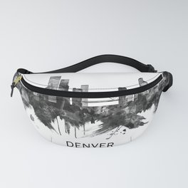 Denver Colorado Skyline BW Fanny Pack