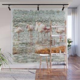 Six Flamingos A Wading Watercolor Wall Mural