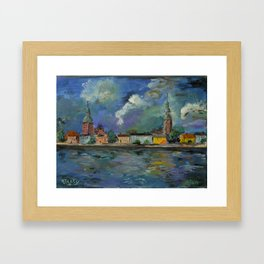 A Night of Color in Riga Framed Art Print