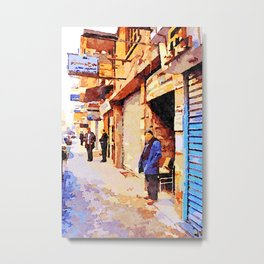 Man out of the shop on a street in Aleppo Metal Print