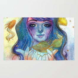 Watercolor illustration of a fairy with goldfish. Rug