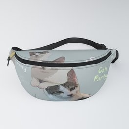 Cats Party!!!          funny, cute, cats, party, children, pet, humor, animals, Society6. Fanny Pack