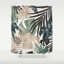 Tropical Jungle Leaves Pattern #13 (Fall Colors) #tropical #decor #art #society6 Shower Curtain