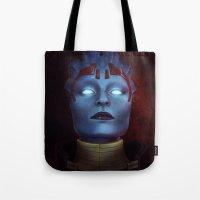 mass effect Tote Bags featuring Mass Effect: Samara by Ruthie Hammerschlag