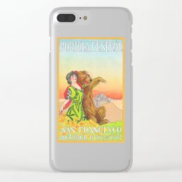 Lady cuddling a Bear at the Portola Festival of 1913  in San Francisco Clear iPhone Case
