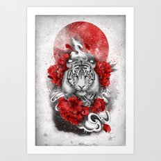 White tiger, red sun Art Print