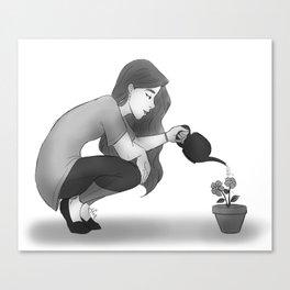 Watering Flowers Canvas Print