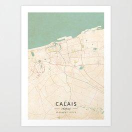 Calais, France - Vintage Map Art Print