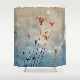 Soft Queen Anne's Lace and Bokeh Shower Curtain