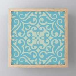 Vintage Fleur-de-lis Tile in Old World Tile Pattern Framed Mini Art Print