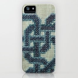 Celtic Knot Cross Stitch in Blue iPhone Case