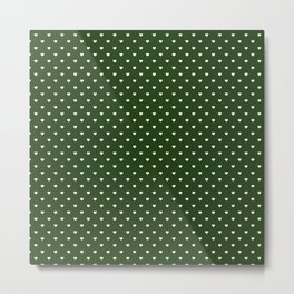 Small White Polka Dot Hearts on Dark Forest Green Metal Print