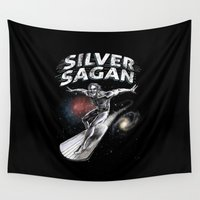 carl sagan Wall Tapestries featuring Silver Sagan by The Cracked Dispensary