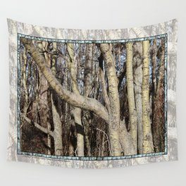 CROWDED GNARLED ASPEN TREES ON CRESCENT BEACH Wall Tapestry