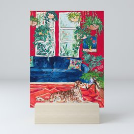 Red Interior with Borzoi Dog and House Plants Painting Mini Art Print