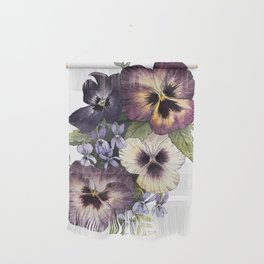 Watercolor Pansy Bouquet Wall Hanging