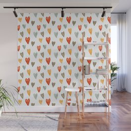 Illustrated Sketch Hearts // Orange // Yellow // Gray Wall Mural