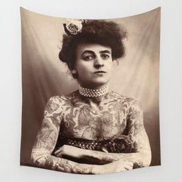 Maud Stevens Wagner Original 1907 Tattooed Lady Wall Tapestry