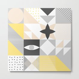 Geometric Pattern based on Scandinavian Graphic Design Metal Print