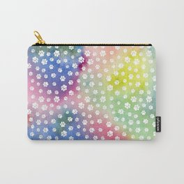 Rainbow Clouds with White Pawprints Carry-All Pouch