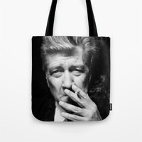 david lynch Tote Bags featuring David Lynch by Tia Hank