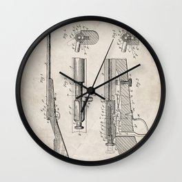 Bolt Action Rifle Patent - Browning Rifle Art - Antique Wall Clock